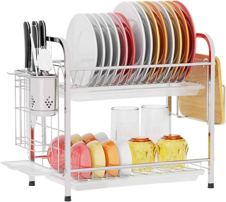 Amazon: 304 Stainless Steel Dish Rack with Utensil Caddy $16.78