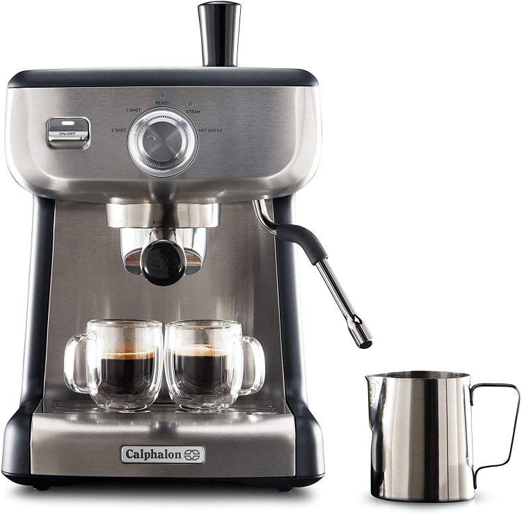 Calphalon BVCLECMP1 Temp iQ Espresso Machine with Steam Wand, Stainless $194.99