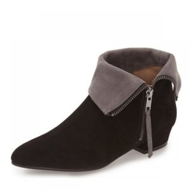 9020store Black and Taupe Short Boots Low Heel Suede Fold-Over Boots