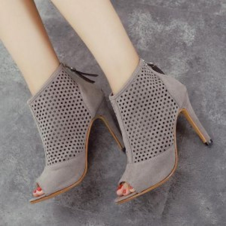 9020store Grey Heeled Boots Hollow out Suede Stiletto Heel Ankle Booties
