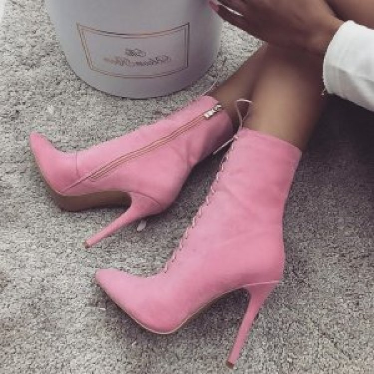 9020store Pink Lace up Boots Stiletto Heel Suede Ankle Booties